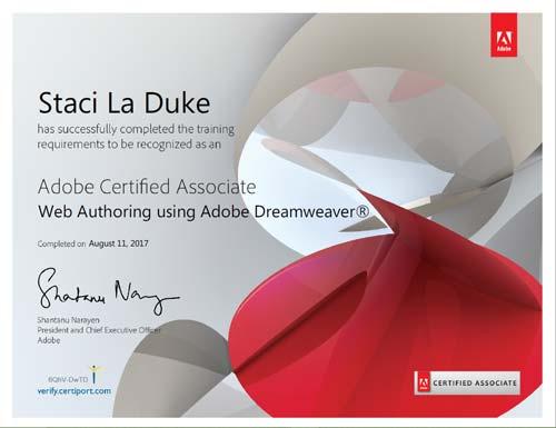 aca adobe dreamweaver cc certification staci laduke