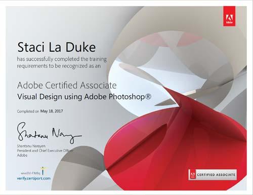 aca adobe photoshop cc certification staci laduke