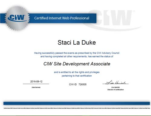 ciw sda certification staci laduke