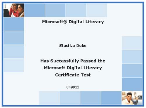 microsoft digital literacy certificate staci laduke